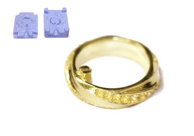 加工前 K18リングの複製 ゴム型(複製)キャスト~磨き~石留まで加工